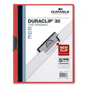 Durable Vinyl DuraClip Report Cover w/Clip, Letter, Holds 30 Pages, Clear/Red DBL220303 220303