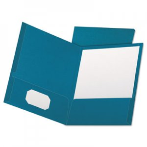 Oxford Linen Finish Twin Pocket Folders, Letter, Teal, 25/Box OXF53442 53442EE