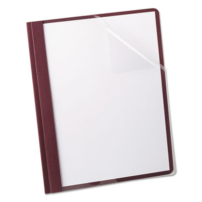 Oxford Linen Finish Clear Front Report Cover, 3 Fasteners, Letter, Burgundy, 25/Box OXF53341 53341