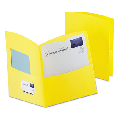 Oxford Contour Two-Pocket Recycled Paper Folder, 100-Sheet Capacity, Yellow OXF5062570 50625-70