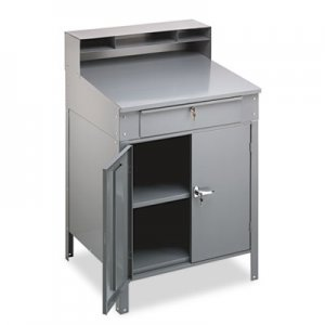 Tennsco Steel Cabinet Shop Desk, 36w x 30d x 53-3/4h, Medium Gray TNNSR58MG SR-58MG