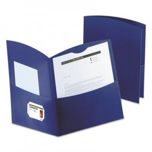 Oxford Contour Two-Pocket Recycled Paper Folder, 100-Sheet Capacity, Dark Blue OXF5062523 50625-23