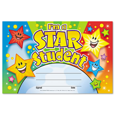 recognition awards im a star student 8 12w by 5 12h