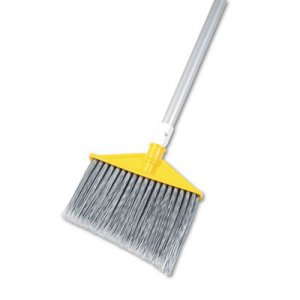 "Rubbermaid Commercial Angled Large Brooms, Poly Bristles, 48 7/8"" Aluminum Handle, Silver/Gray RCP6385GRA FG638500GRAY"