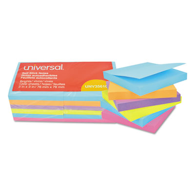Standard self stick bright pads 3 x 3 4 colors 12 100 sheet pads pack