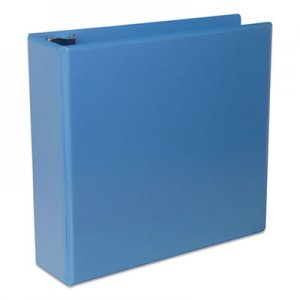 "Genpak Deluxe Round Ring View Binder, 3"" Capacity, Light Blue UNV20753"