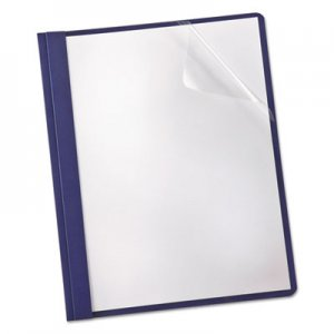 Oxford Linen Finish Clear Front Report Cover, 3 Fasteners, Letter, Navy, 25/Box OXF53343 53343