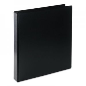 "Genpak Deluxe Round Ring View Binder, 1"" Capacity, Black UNV20711"
