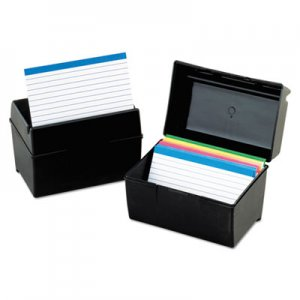 Oxford Plastic Index Card Flip Top File Box Holds 300 3 x 5 Cards, Matte Black 01351 OXF01351