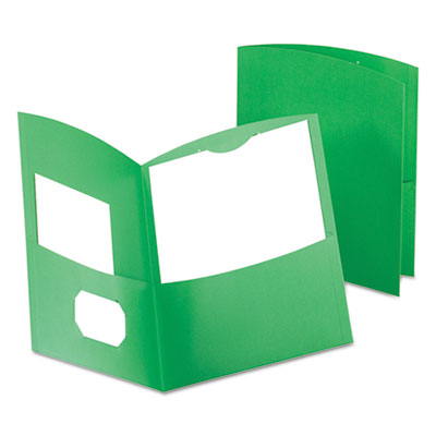 Oxford Contour Two-Pocket Recycled Paper Folder, 100-Sheet Capacity, Green OXF5062560 50625-60