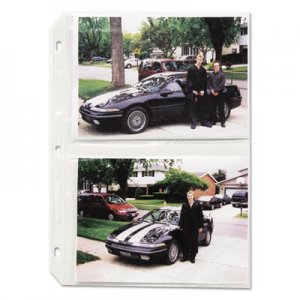 C-Line Clear Photo Pages for Four 5 x 7 Photos, 3-Hole Punched, 11-1/4 x 8-1