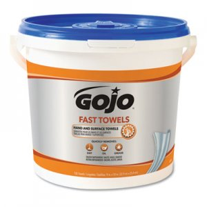 GOJO FAST TOWELS Hand Cleaning Towels, 9 x 10, White, 225/Bucket, 2 Buckets/Carton GOJ629902CT 6299-02