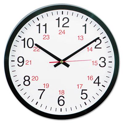 24 Hour Round Wall Clock 12 3 4 Black UniversalR 10441