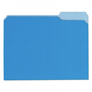 Genpak Recycled Interior File Folders, 1/3 Cut Top Tab, Letter, Blue, 100/Box UNV12301