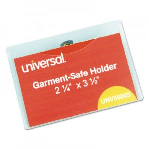 Universal Clear Badge Holders w/Garment-Safe Clips, 2 1/4 x 3 1/2, White Inserts, 50/Box UNV56003