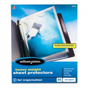 Wilson Jones Heavyweight Top-Loading Sheet Protectors, Nonglare Finish, Letter, 50/Box WLJ21412 21412