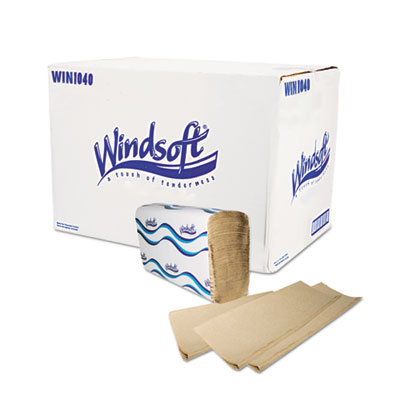 Windsoft Multifold Paper Towels, 1-Ply, 9 1/5 x 9 2/5, Natural, 250/Pack, 16 Packs/Carton WIN1040