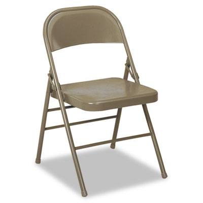 COSCO 60-810 Series All Steel Folding Chairs, Taupe, 4/Carton CSC60810TAP4 60810TAP4
