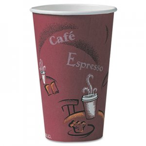 Dart Bistro Design Hot Drink Cups, Paper, 16oz, Maroon, 300/Carton SCCOF16BI0041 OF16BI-0041