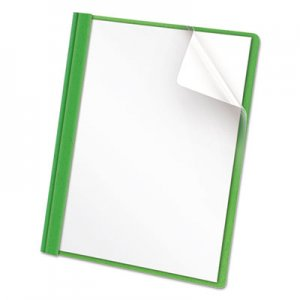 Universal Clear Front Report Cover, Tang Fasteners, Letter Size, Green, 25/Box UNV57124