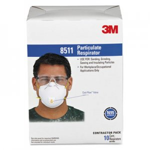 3M Particulate Respirator w/Cool Flow Exhalation Valve, 10 Masks/Box MMM8511 142-8511
