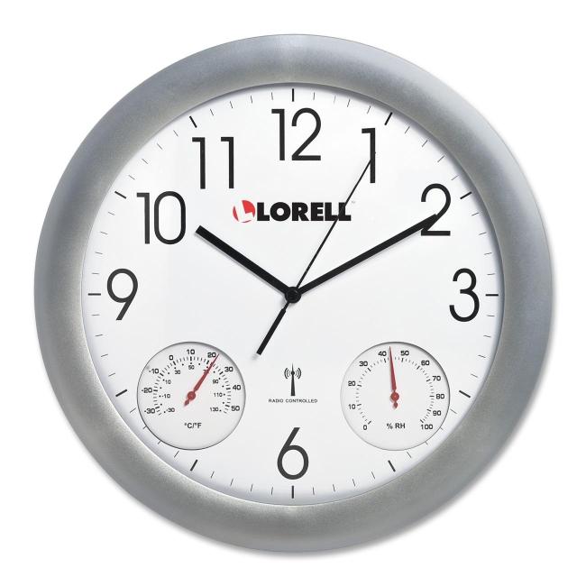 analog temperature humidity wall clock lorell 61000