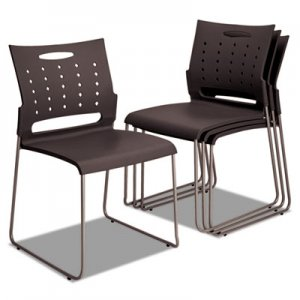 Alera Continental Series Perforated Back Stacking Chairs, Charcoal Gray, 4/CT ALESC6546