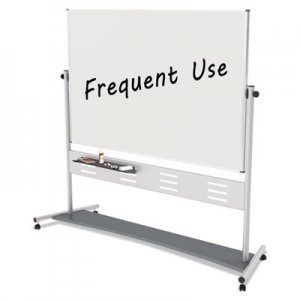 "MasterVision Magnetic Reversible Mobile Easel, 70 4/5w x 47 1/5h, 80""h, White/Silver BVCQR5507 QR5507"