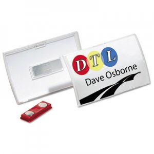 Durable Click-Fold Convex Name Badge Holder, Double Magnets, 3 3/4 x 2 1/4, Clear, 10/Pk DBL821519