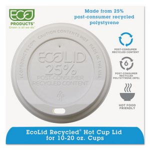 Eco-Products EcoLid 25% Recy Content Hot Cup Lid, White, F/10-20oz, 100/PK, 10 PK/CT ECOEPHL16WR EP