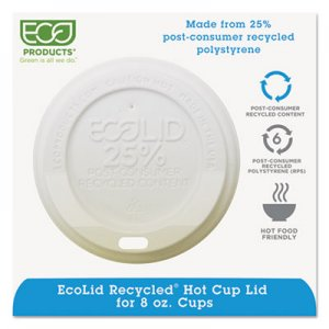 Eco-Products EcoLid 25% Recy Content Hot Cup Lid, White, Fits 8oz Hot Cups, 100/PK, 10 PK/CT ECOEPHL8WR