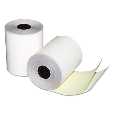 "Quality Park Two-Ply Teller Window/Financial Rolls, 3-1/4"" x 80 ft., White/Canary, 60/Carton QUA15628 15628"