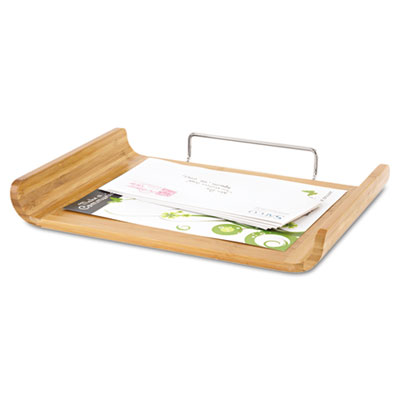 Desk tray single tier bamboo letter natural safco for Bamboo letter tray