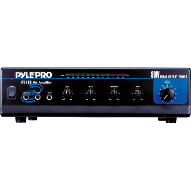 PyleHome 80 Watt AC/DC Microphone PA Mono Amplifier w/ 70V Output & Mic Talkover PT110