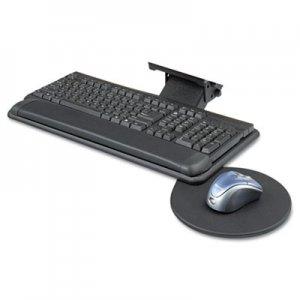 Safco Adjustable Keyboard Platform with Swivel Mouse Tray, 18-1/2w x 9-1/2d, Black SAF2135BL 2135BL