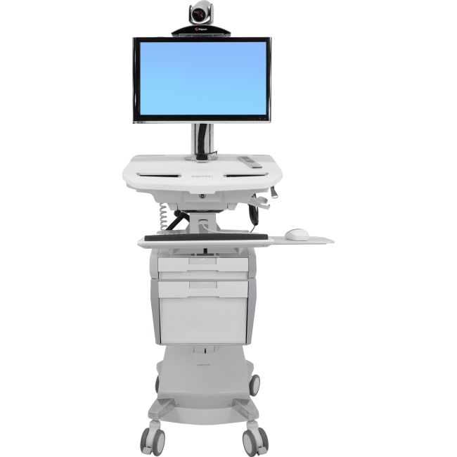 Ergotron StyleView Telepresence Cart, Dual Monitor, Powered SV42-56E1-1