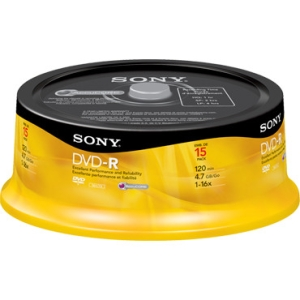 Sony 16x 4.7GB DVD Recordable Media 15DMR47SP