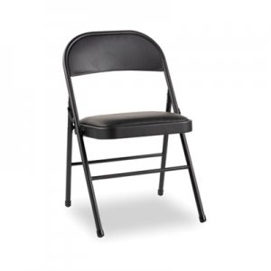 Alera Steel Folding Chair with Two-Brace Support, Padded Back/Seat, Graphite, 4/Carton ALEFC96B