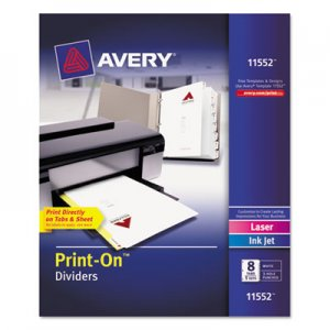 avery customizable print on dividers 8 tab letter 5 sets ave11552
