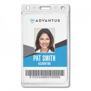 Advantus Frosted Rigid Badge Holder, 2 1/8 x 3 3/8, Clear, Vertical, 25/BX AVT76076 76076