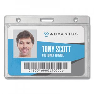 Advantus Frosted Rigid Badge Holder, 3 3/8 x 2 1/8, Clear, Horizontal, 25/BX AVT76075 76075