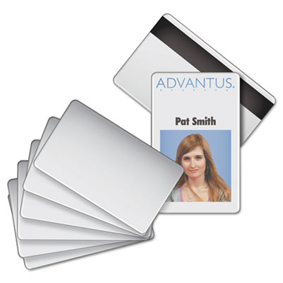 Advantus Blank PVC ID Badge Card with Magnetic Strip, 2 1/8 x 3 3/8, White, 100/PK AVT76354