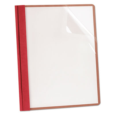 Oxford Earthwise by Oxford Recycled Clear Front Report Covers, Letter Size, Red, 25/Box OXF57871 ESS57871