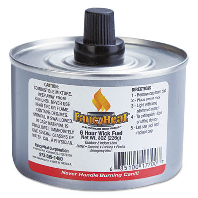 FancyHeat Chafing Fuel Can, Stem Wick, 4-6hr Burn, 8oz, 24/Carton FHCF700 F700