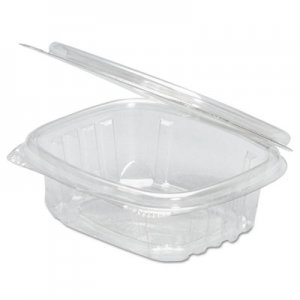 Genpak Clear Hinged Deli Container, 16oz, 7 1/4 x 6 2/5 x 1, 100/Bag, 2 Bags/Carton