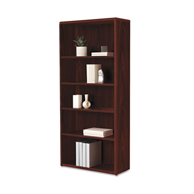 HON 10700 Series Wood Bookcase, 5 Shelf/3 Adjust,32 3/8 x 13 1/8 x 71, Mahogany HON107569NN