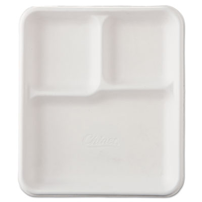 Chinet Heavy-Weight Molded Fiber Cafeteria Trays, 3-Comp, 8 1/4 x 9 1/2, 500/Carton HUH22023