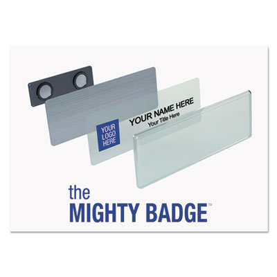 The Mighty Badge Name Badge Starter Kit, Laser Inserts, 1 x 3, Gold, 10 per Kit IPP901708 901708