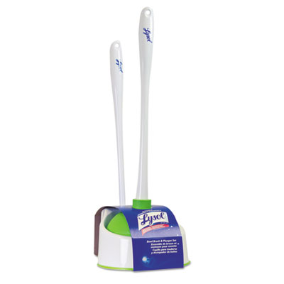 "LYSOL Brand Lysol Bowl Brush with Plunger and Caddy, 20 1/4"", White/Green QCK57365 57365"
