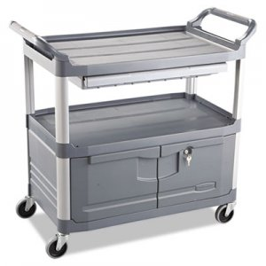 Rubbermaid Commercial Xtra Instrument Cart, 300-lb Cap, Three-Shelf, 20w x 40-5/8d x 37-4/5h, Gray